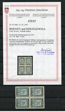 JUGOSLAWIEN Nr.19IIK (*) VIERERBLOCK ATTEST Zrinjscak BPP !!! (122321)