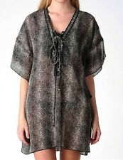 "NWT Black and Brown Python Print ""RESORT by Jendi"" Kaftan Top/Cover Up Size M"