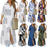 Womens Floral Buttons Long Sleeve Shirt Split Maxi Dress Casual Loose Sundress