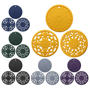 3pcs Round Heat-insulated Silicone Hot Pads Table Top Dish Bowl Mat Trivet