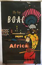 ORIGINAL Vintage Airline Travel Poster BOAC Africa ZULU Tribal RICKSHAW Neon Ink