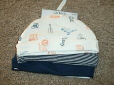 Carter's Baby Boy Animal Stripe Navy Blue Hat Safari 3pk Size 0-3 months 3M NWT