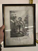 St Bernard Lithographie Gravure XIXeme Ancien Religieux Vierge Saint Église