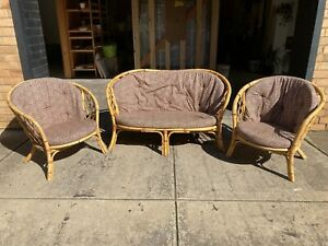 Vintage Chenelle Rattan Cane Occasional Chair 3 Piece Set - Beautiful!