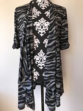 Style And Co Duster Top Sz L Black Gray Open Front Semi Sheer Tunic Animal Print