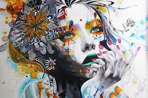 Urban princess super size canvas  art  print girl face  painting