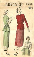 Vintage 1940's Sewing Pattern WWII Skirt Back Belt Jacket & Blouse Suit B 29""