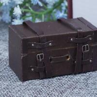 Cute 1:12 Doll House Mini Luggage Box Miniature Leather Wood Suitcase Gifts E0M8