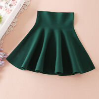 Retro Vintage Ladies Womens High Waist Elastic Skater Mini Flared Pleated Skirt