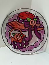 RED HAT HAND PAINTED STAINED GLASS SUNCATCHER