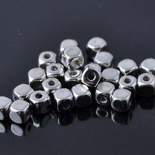 Lot 20 Perle Cube 4mm Argente Metal perle intercalaire creation bijoux