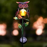 Solar LED Owl Stake Light Garden Lawn Ornament Outdoor Waterproof Novelty Lamp