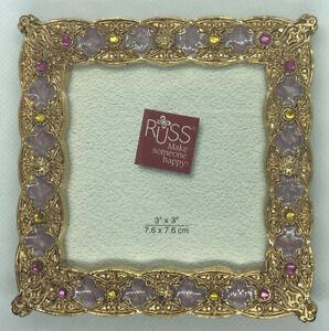 "Vintage Russ Enamel W/ Jewels Photo Picture Frame 3"" x 3"" Opening Rear Loading"