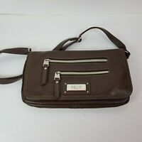 Relic by Fossil Cross Body Flap Fold Over Top Brown Vegan Leather Bag Purse