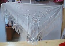 Schal/Manton Andalus Weiss&Satinstickerei-Shawl/Manton Andalus White embroidered