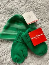 Hanna Andersson Green Baby Beanie Hat & Mittens Set Size XS Boy Girl Cap