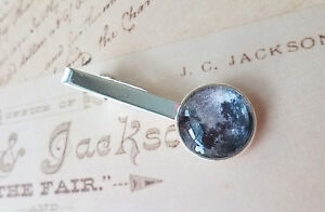 18 mm Black and white Full Moon tie clip ,Mens Accessories