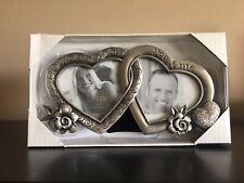 Fetco Silver Metal HEARTS & FLOWERS Dual Photo Frame 3x3s LOVE or WEDDING NIB