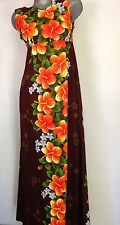 VINTAGE UI-MAIKAI 1960s Hawaiian MAXI DRESS Size 14 Made In Hawaii M/L