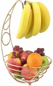 PREMIUM COPPER FRUIT BASKET WITH BANANA HOLDE LARGE WIRE FRAME COUNTER TOP UK