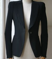 Alexander McQueen Crepé Negro Chaqueta que 38 Reino Unido 6