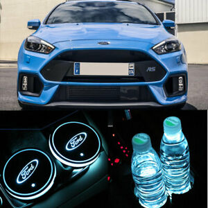 2x Car USB Ford Focus Fiesta RS ST Line Interior Decoration LEd Cup Holder Light