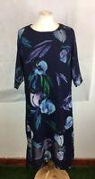 Ladies Blue Floral Print Size 14 3/4 Sleeve Shift Smock Dress