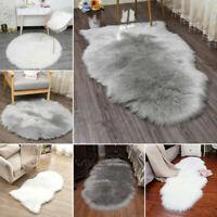 Fluffy Plain Sheepskin Rug Soft Faux Fur Rugs Room Mats Thick Wool Carpet US