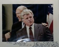 TED KENNEDY Autographed 11x14 photograph also signed by Senator Alan Simpson
