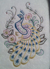 Peacock And Flowers New Design Embroidered Set 2 Bathroom Hand Towels