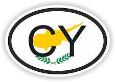 CY CHYPRE Autocollant OVAL avec drapeau pour Voiture Caravane Pare-choc laptop