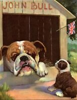 Old Bulldog In Doghouse Puppy English Flag Dog Wesley Dennis Book plate print