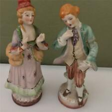Pair of Occupied Japan Hand Painted Figurines - Man and Woman In Victorian Dress