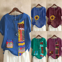 ZANZEA UK Womens Short Sleeve Floral Printed T Shirt Tee Casual Loose Top Blouse