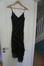 Sparkly black 100% silk long evening dress with jewel detail from Warehouse