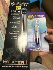 Aquarium Masters 100w Heater And Thermometer Bundle 35 Gallon Tanks HIGH Quality