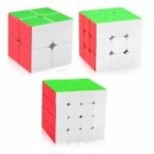 Rubik's Cube 2x2, 3x3, 4x4 Bundle Set Red Stickerless