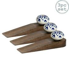 Wooden Door Stop Stops Stopper Wedge Jam Doorstop - Classic Blue Design - x3