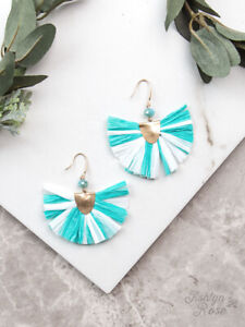 WOMENS LADIES HOOK Earrings, Turquoise and White