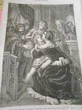 Gravure 1861 Richard III enlevant les enfants d'édouard