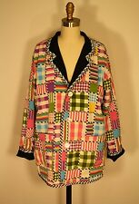 Koos of Course Reversible Black Linen Plaid Artsy Blazer Jacket M