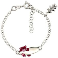 Sterling Silver Rolo Baby ID Bracelet, White Gold Finish w/Bear & Girl Charm