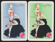 2 Single VINTAGE Swap/Playing Cards PINUP GIRLS STOCKINGS HEELS SLB Brewery