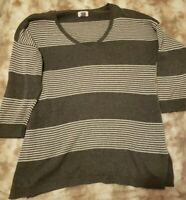 Women's Old Navy Gray Stripe Long Sleeve V Neck Pullover Sweater Size L Regular