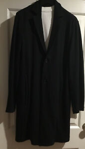 Jac + Jack Black Tailored Longer Line Coat Relaxed Fit Made In Aust VG Cond Sz M