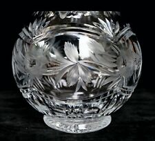 """Beautiful Lead Cut Etched Floral Crystal Glass Rose Bowl 5.5"""""""