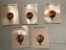 5 RAINBOW COLORS HOT AIR BALLOON BUTTONS - HAND PAINTED BALLOONS