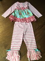 Rare Editions Girls Pink 2pc Outfit Gingerbread Sz 24 Months **Precious**