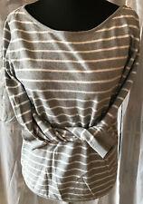 ESPRIT Damen Shirt Rundhals grau weiß quer gestreift L Baumwollmix weich Langarm