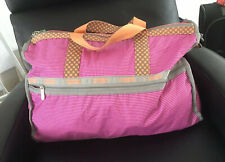 LeSportSac Large Duffle Weekender Pink Stripes Orange Dots 💖🧡 Shoulder Strap